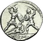 reverse:  Q. Thermus M.f. Denario, 103 a.C.
