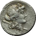 obverse:  L. Cassius Q. f. Longinus. Denario, 78 a.C.