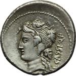 reverse:  L. Cassius Q. f. Longinus. Denario, 78 a.C.