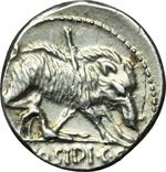 reverse:  C. Hosidius C.f. Geta. Denario, 68 a.C.