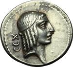 obverse:  C. Piso L. f. Frugi. Denario, 67 a.C.