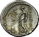 reverse:  Q. Pomponius Musa. Denario, 66 a.C.