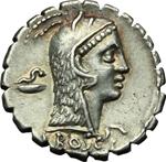 obverse:  L. Roscius Fabatus. Denario, 64 a.C.