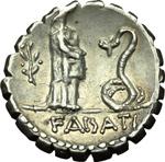 reverse:  L. Roscius Fabatus. Denario, 64 a.C.