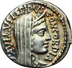 obverse:  L. Aemilius Lepidus Paullus. Denario, 62 a.C.