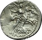 reverse:  L. Plautius Plancus. Denario, 47 a.C.
