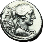 obverse:  T. Carisius. Denario, 46 a.C.