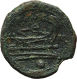reverse:  Serie monogramma ROMA. Oncia, 211-210 a.C. Italia sud-orientale.