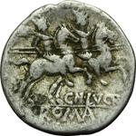 reverse:  Cn. Lucretius Trio. Denario, 136 a.C.