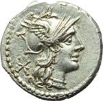obverse:  P. Maenius Antiaticus M. f. Denario, 132 a.C.
