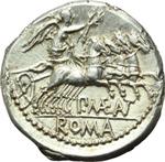 reverse:  P. Maenius Antiaticus M. f. Denario, 132 a.C.