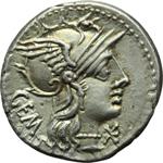 obverse:  M. Aburius  M.f. Geminus. Denario, 132 a.C.