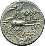 reverse:  M. Aburius  M.f. Geminus. Denario, 132 a.C.