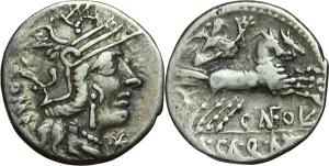 M. Calidius, Q. Metellus e Cn. Fulvius. Denario, ca. 117-116 a.C.