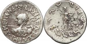 Baktria, Indo-Greek Kingdoms  Menander I Soter (155-130 BC).  AR Drachm, Indian standard.