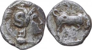 Italy. Southern Lucania, Thurium.   AR Triobol, ca. 350-300 BC