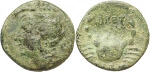 Italy. Bruttium, the Brettii.   AE Trihemiobol, ca. 215-205 BC.