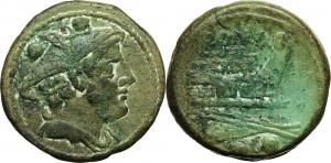 Post semi-libral series.  AE Sextans, circa 215-212 BC. Obv. Head of Mercury right, wearing winged p