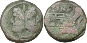 L. Cornelius Cinna.  AE As, 169-158 BC. Obv. Laureate head of Janus; above, I. Rev. Prow right; abov