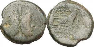 C. Terentius Lucanus.  AE As, 147 BC. Obv. Laureate head of Janus; above, I. Rev. Prow right; above,