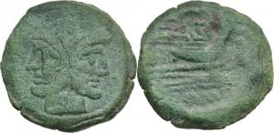 C. Antestius.  AE As, 146 BC. Obv. Laureate head of Janus; above, I. Rev. Prow right; above, C ANTES