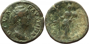 Faustina I (died 141 AD).  AE Sestertius, after 141. Obv. DIVA FAVSTINA. Draped bust right. Rev. AVG