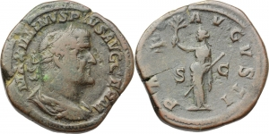 Maximinus I (235-238).  AE Sestertius, ca 236-238. Obv. MAXIMINVS PIVS AVG GERM. Laureate, draped an