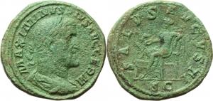 Maximinus I (235-238).  AE Sestertius, ca 236-238. Obv. MAXIMINVS PIVS AVG GERM. Laureate, draped, a