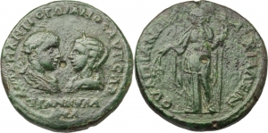 Gordian III (238-244).  AE 27mm, Anchialus mint, Thrace. Obv. Facing bust of Gordian III and Tranqui