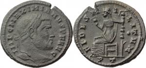 Maximian (286-310).  AE Follis, 306 AD. Ticinum mint. Obv. IMP C MAXIMIANVS P F AVG. Laureate bust r