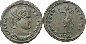 AE Follis, 309-310. Heraclea mint. Obv. GAL VALERIA AVG. Diademed and draped bust right. Rev. VENE