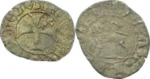 L Aquila. Renato d Angiò (1435-1442). Quattrino.    B. 112. MI.    RRR.  qBB.