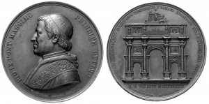 Pio IX (1846-1878). Medaglia 1846 arco di Piazza del Popolo a Roma.    Bart. I-34. AE.   mm. 61.48 I