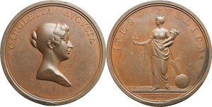 Inghilterra  Principessa Carlotta Augusta del Galles (1796-1817) Medaglia 1814 per il fidanzamento.