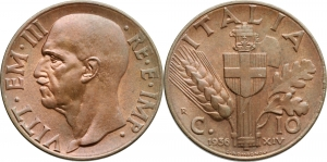Vittorio Emanuele III (1900-1946) 10 centesimi 1936.