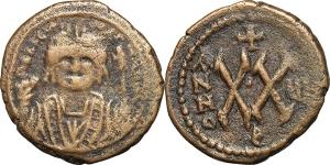 Maurice Tiberius (582-602). AE Half Follis, Theoupolis (Antioch) mint.