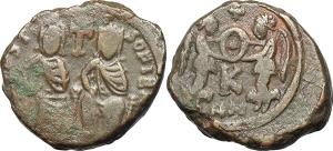 Justin II and Sofia (565-578). AE Half Follis, Carthage mint, struck 572/3-578.