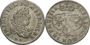 Germania-Brandeburgo-Prussia  Federico Guglielmo (1640-1688).  6 Groschen 1686 Konigsberg.