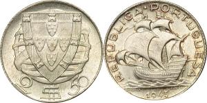 Portogallo   2 1/2 Escudos 1945.