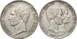 Belgio  Leopoldo I (1831-1865) 5 franchi 1853 sul matrimonio tra l erede Leopold (poi Leopoldo II)