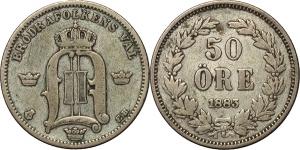 Svezia  Oscar II (1872-1907). 50 öre 1883.