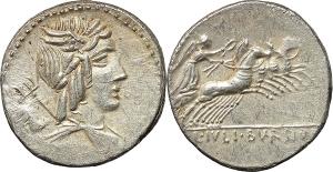 L. Iulius Bursio. AR Denarius, 85 BC.