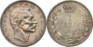 Serbia  Pietro I (1903-1918) Dinaro 1904.