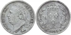 Francia. Luigi XVIII (1814-1824). Mezzo franco 1822 A.