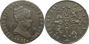 Spagna. Isabella II (1833-1868). 8 maravedis 1842, Segovia.