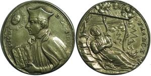 Medaglia devozionale con San Ignazio di Loyola e San Francesco Xavier (fine 700 ).