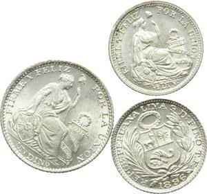 Perù. Lotto di 3 monete: dinero 1897/IF, mezzo dinero 1896/TF e 1897/JF.