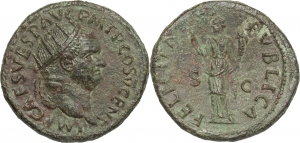 Vespasiano (69-79). Dupondio, 74 d.C.