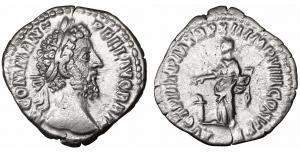 Commodus AD 180-192. Rome. Denarius. AR 18 mm - 2,62 gr. O:\ M COMM ANT P FEL AVG BRIT, laureate hea