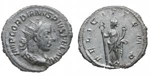 Gordian III. AR Antoninianus, 243-244, Fifth Issue, Rome. 4,0 gr. – 22,53 mm. O:\ IMP GORDIANVS PIVS